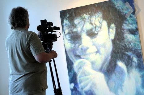 Michael Jackson and a TV man